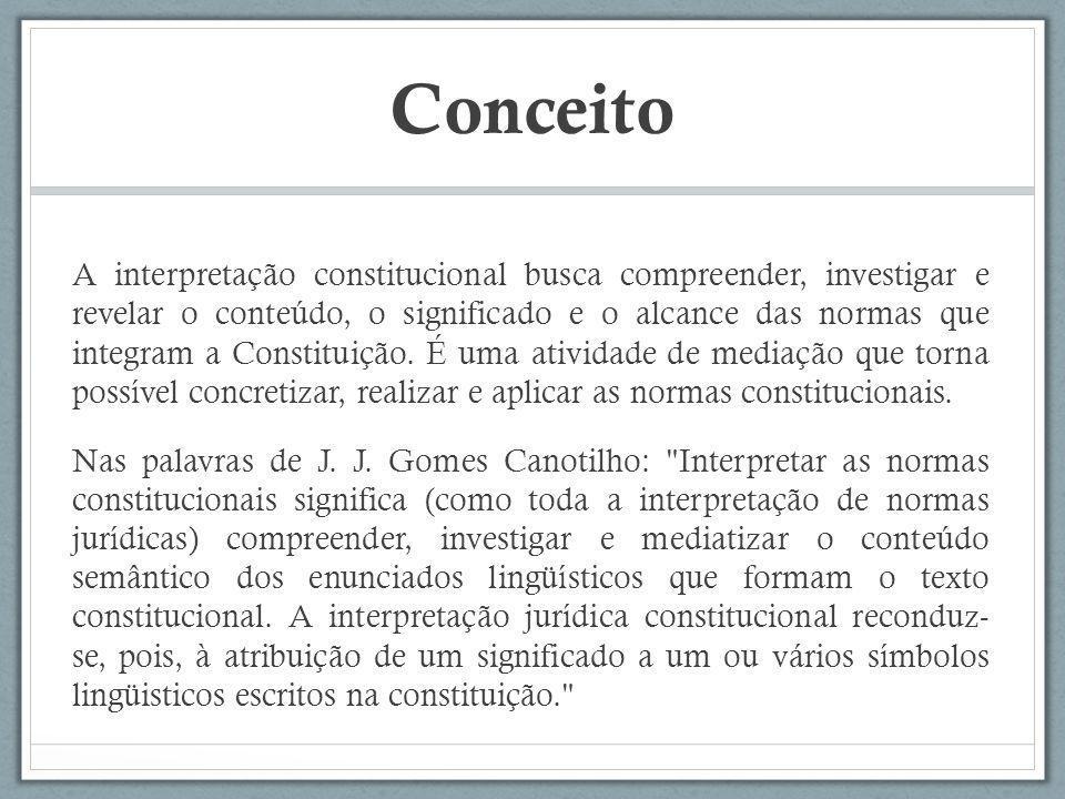 Conceito A interpretação constitucional busca compreender, investigar e revelar o conteúdo, o significado e o alcance das normas que integram a Consti