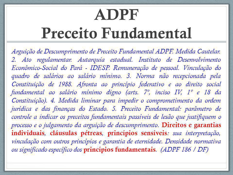 ADPF Preceito Fundamental Arguição de Descumprimento de Preceito Fundamental ADPF. Medida Cautelar. 2. Ato regulamentar. Autarquia estadual. Instituto