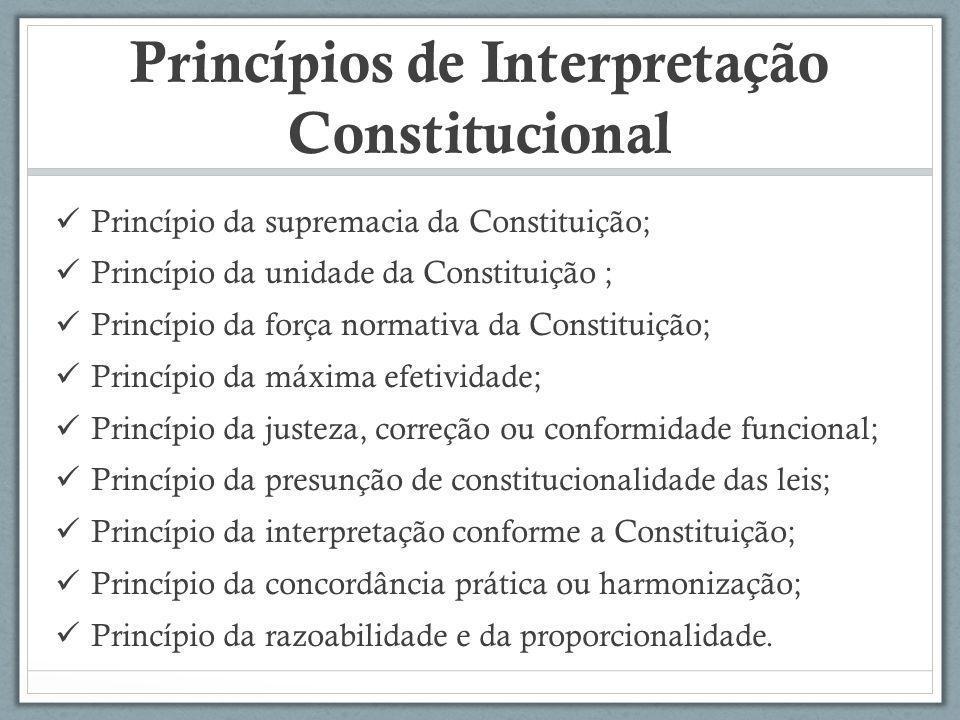 Princípios de Interpretação Constitucional Princípio da supremacia da Constituição; Princípio da unidade da Constituição ; Princípio da força normativ