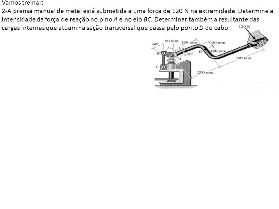 Vamos treinar: 2-A prensa manual de metal está submetida a uma força de 120 N na extremidade.