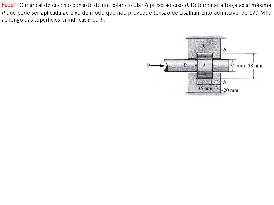 Fazer : O mancal de encosto consiste de um colar circular A preso ao eixo B.