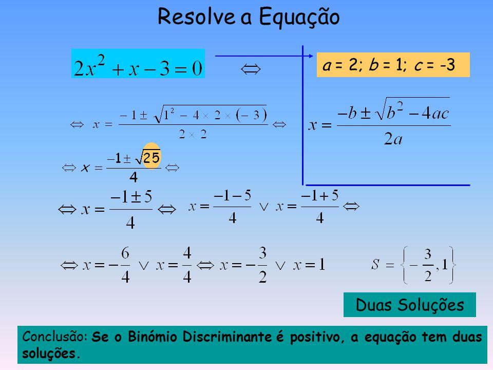 Equações do 2º grau completas Fórmula Resolvente Dada uma equação do tipo Podemos encontrar as soluções, utilizando a seguinte fórmula: À expressão qu