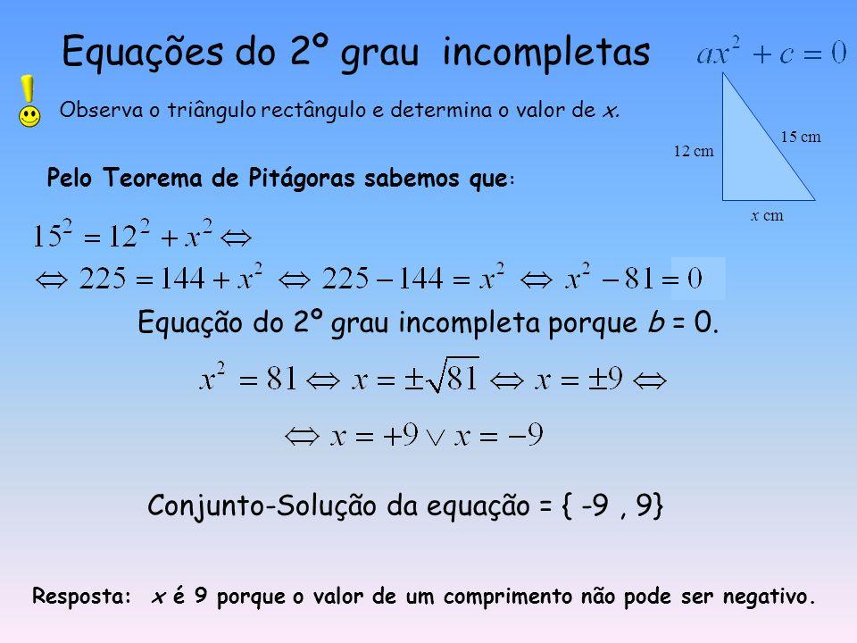 Equações do 2º grau incompletas Observa o triângulo rectângulo e determina o valor de x.