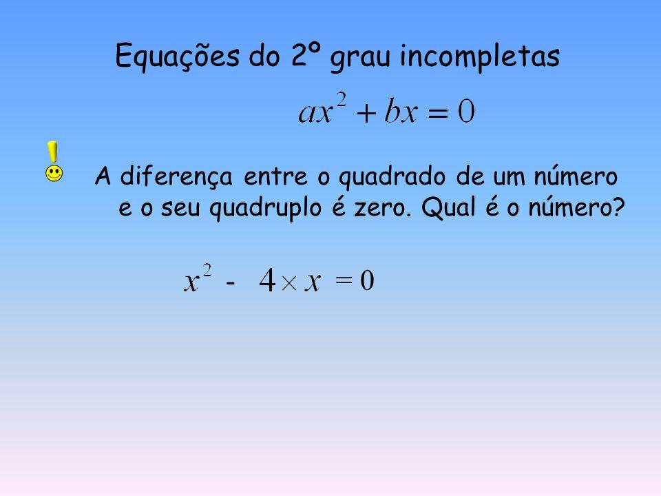 Equações do 2º grau incompletas A soma de seis com o quíntuplo do quadrado de um número é seis. Qual é o número? + = 6 0 é a solução da equação