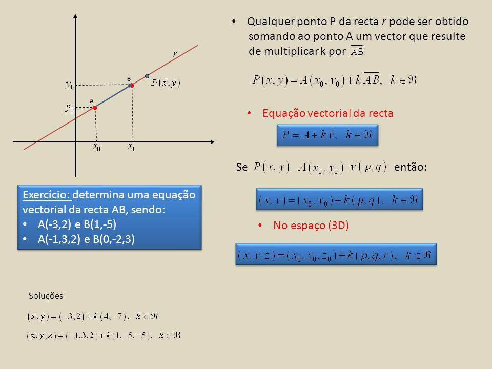 r A B Qualquer ponto P da recta r pode ser obtido somando ao ponto A um vector que resulte de multiplicar k por Equação vectorial da recta Seentão: No espaço (3D) Exercício: determina uma equação vectorial da recta AB, sendo: A(-3,2) e B(1,-5) A(-1,3,2) e B(0,-2,3) Exercício: determina uma equação vectorial da recta AB, sendo: A(-3,2) e B(1,-5) A(-1,3,2) e B(0,-2,3) Soluções