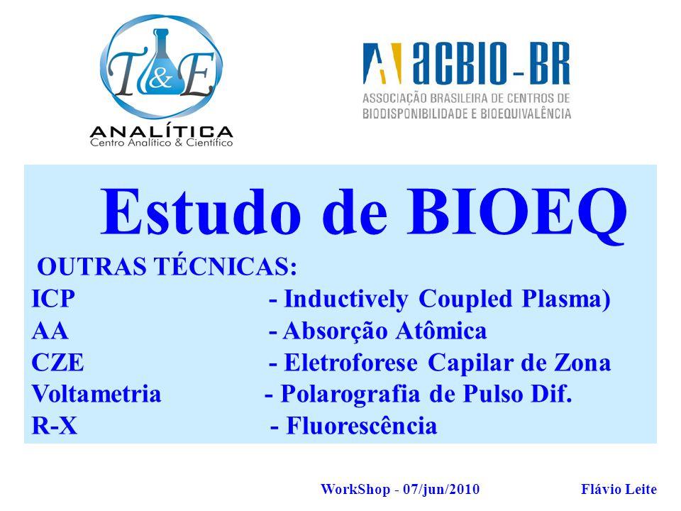 T&E Analítica Flávio Leite AMOSTRAGEM Estudo de BIOEQ OUTRAS TÉCNICAS: ICP - Inductively Coupled Plasma) AA - Absorção Atômica CZE - Eletroforese Capi