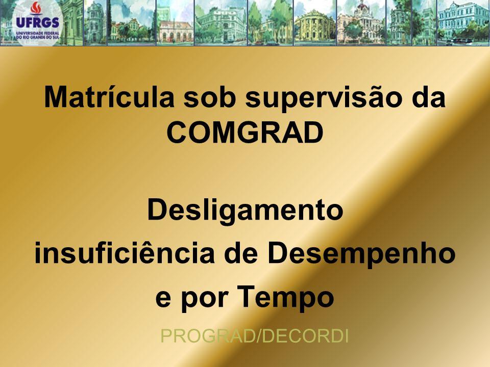 Matrícula sob supervisão da COMGRAD Desligamento insuficiência de Desempenho e por Tempo PROGRAD/DECORDI