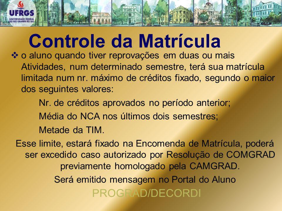 Controle da Matrícula  o aluno quando tiver reprovações em duas ou mais Atividades, num determinado semestre, terá sua matrícula limitada num nr. máx