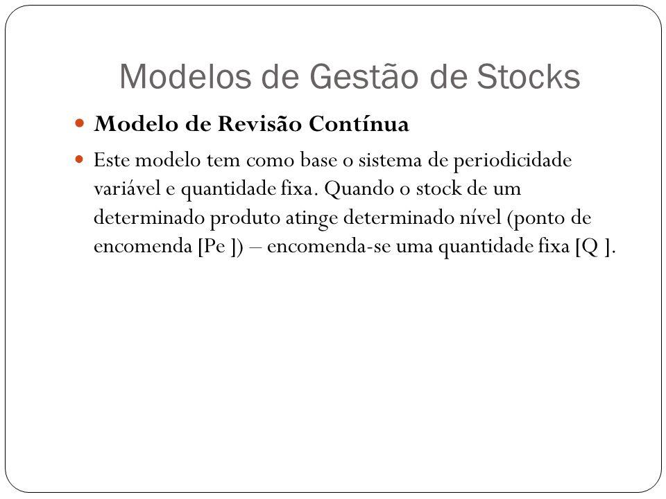 Modelos de Gestão de Stocks Modelo de Revisão Contínua Este modelo tem como base o sistema de periodicidade variável e quantidade fixa. Quando o stock