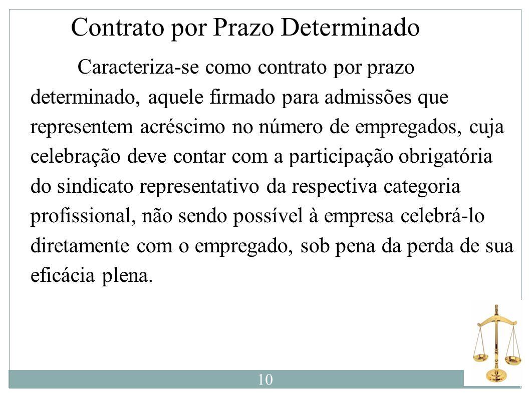 Contrato por Prazo Determinado Caracteriza-se como contrato por prazo determinado, aquele firmado para admissões que representem acréscimo no número d