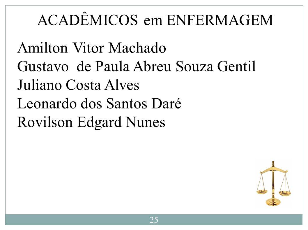 ACADÊMICOS em ENFERMAGEM Amilton Vitor Machado Gustavo de Paula Abreu Souza Gentil Juliano Costa Alves Leonardo dos Santos Daré Rovilson Edgard Nunes
