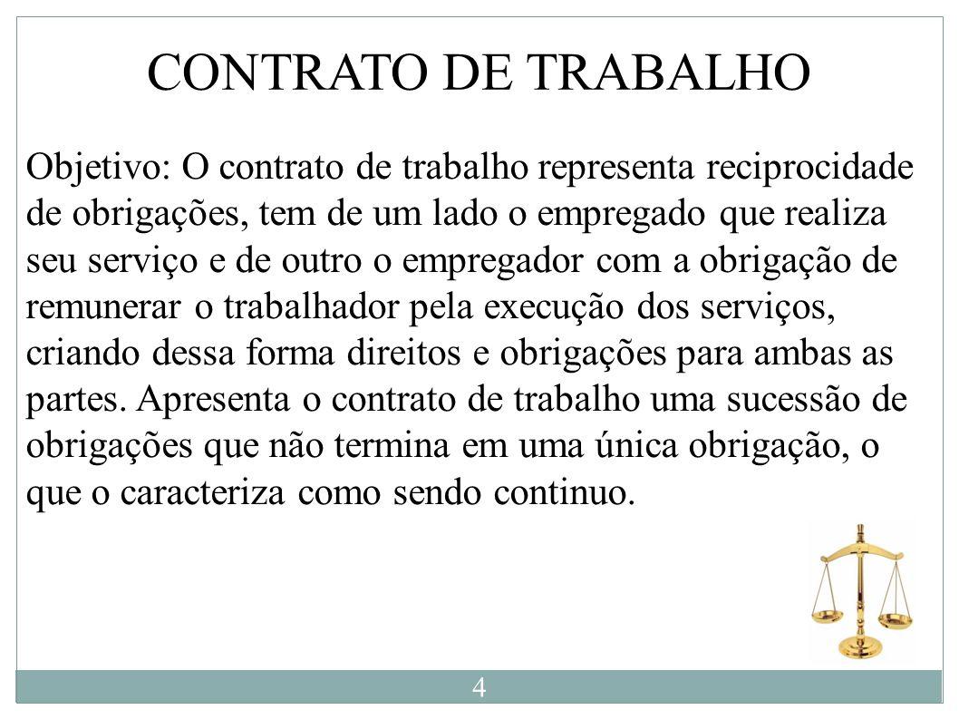 Objetivo: O contrato de trabalho representa reciprocidade de obrigações, tem de um lado o empregado que realiza seu serviço e de outro o empregador co