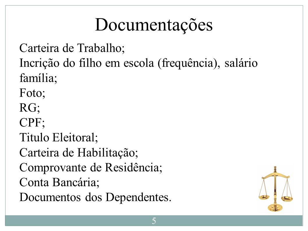 Documentações Carteira de Trabalho; Incrição do filho em escola (frequência), salário família; Foto; RG; CPF; Titulo Eleitoral; Carteira de Habilitaçã
