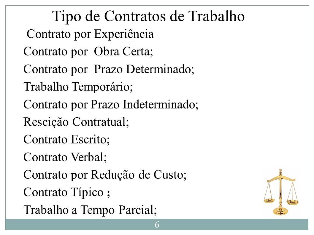 Tipo de Contratos de Trabalho Contrato por Experiência Contrato por Obra Certa; Contrato por Prazo Determinado; Trabalho Temporário; Contrato por Praz