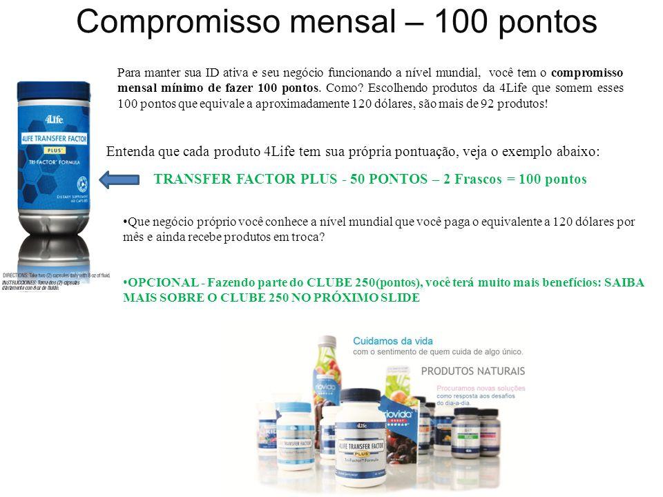 Compromisso mensal – 100 pontos Entenda que cada produto 4Life tem sua própria pontuação, veja o exemplo abaixo: TRANSFER FACTOR PLUS - 50 PONTOS – 2