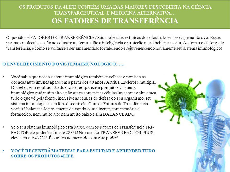 OS PRODUTOS DA 4LIFE CONTÉM UMA DAS MAIORES DESCOBERTA NA CIÊNCIA TRANSFARCEUTICAL E MEDICINA ALTERNATIVA… OS FATORES DE TRANSFERÊNCIA O ENVELHECIMENT