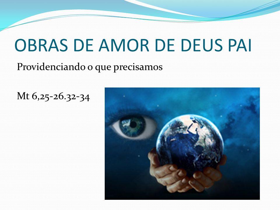 OBRAS DE AMOR DE DEUS PAI Providenciando o que precisamos Mt 6,25-26.32-34