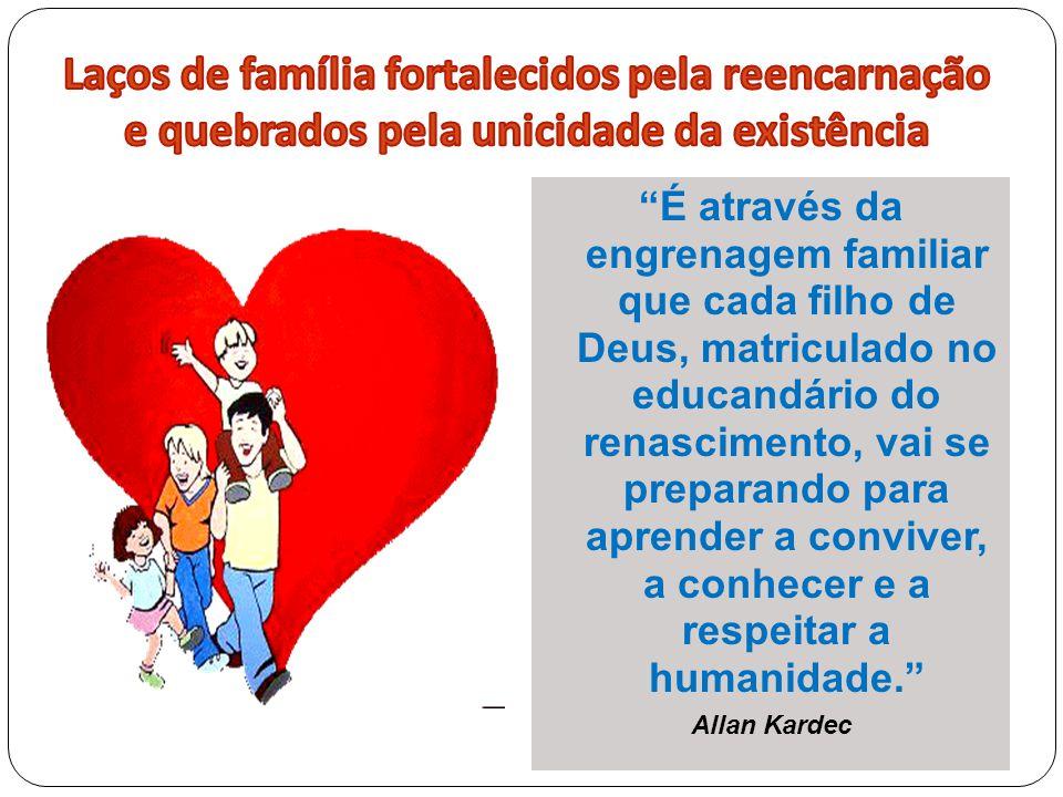 """""""É através da engrenagem familiar que cada filho de Deus, matriculado no educandário do renascimento, vai se preparando para aprender a conviver, a co"""
