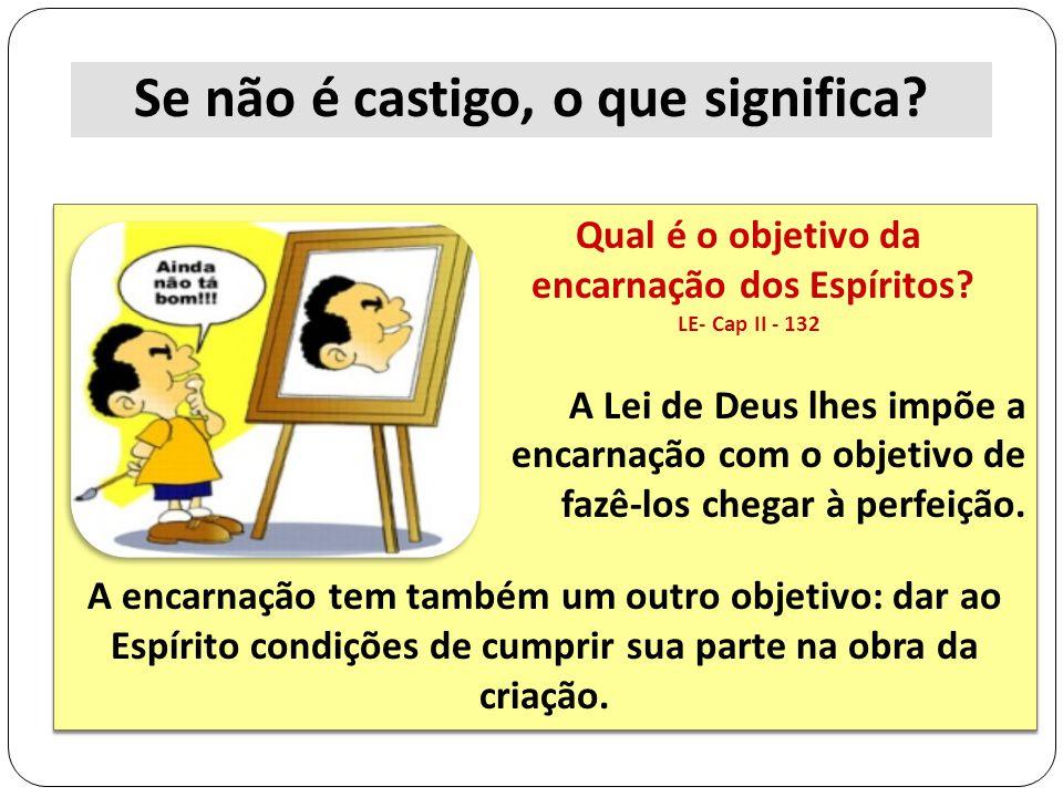 A Lei de Deus lhes impõe a encarnação com o objetivo de fazê-los chegar à perfeição. A encarnação tem também um outro objetivo: dar ao Espírito condiç