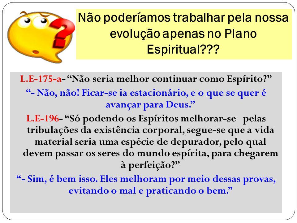 """Não poderíamos trabalhar pela nossa evolução apenas no Plano Espiritual??? L.E-175-a- """"Não seria melhor continuar como Espírito?"""" """"- Não, não! Ficar-s"""