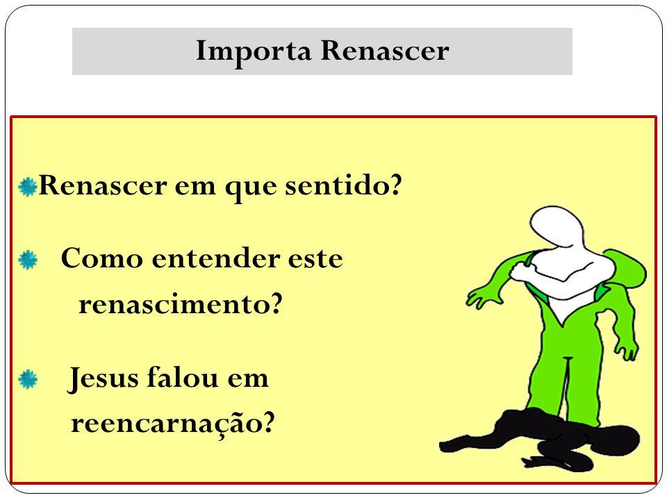 Renascer em que sentido? Como entender este renascimento? Jesus falou em reencarnação? Importa Renascer