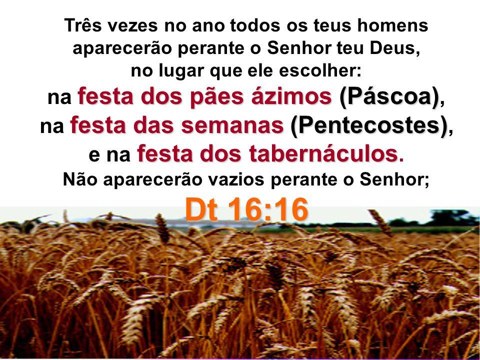 Três vezes no ano todos os teus homens aparecerão perante o Senhor teu Deus, no lugar que ele escolher: festa dos pães ázimos (Páscoa) na festa dos pã