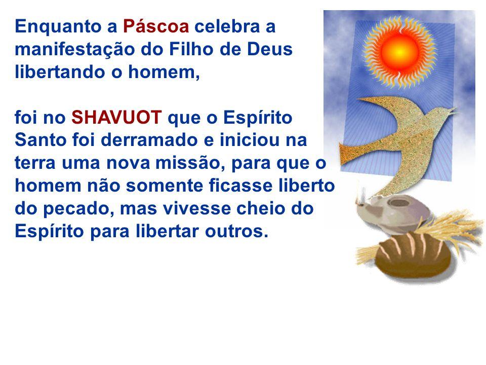 Enquanto a Páscoa celebra a manifestação do Filho de Deus libertando o homem, foi no SHAVUOT que o Espírito Santo foi derramado e iniciou na terra uma