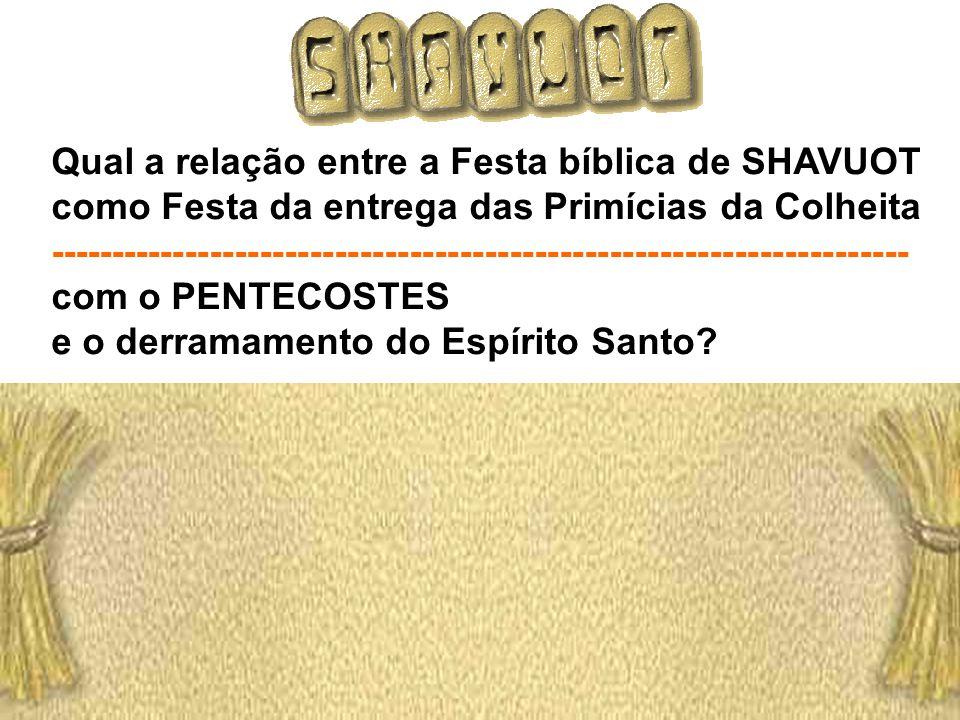 Qual a relação entre a Festa bíblica de SHAVUOT como Festa da entrega das Primícias da Colheita ------------------------------------------------------