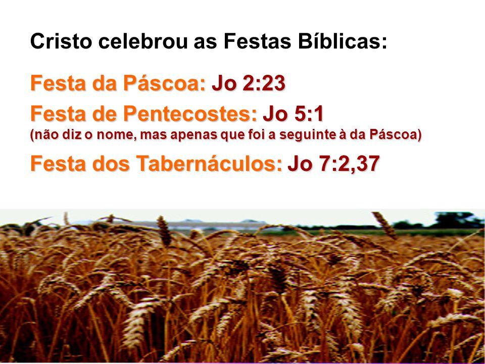 Festa da Páscoa: Jo 2:23 Festa de Pentecostes: Jo 5:1 (não diz o nome, mas apenas que foi a seguinte à da Páscoa) Festa dos Tabernáculos: Jo 7:2,37 Cr