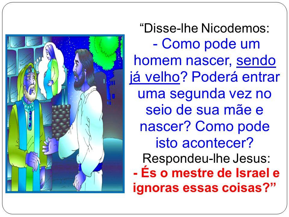 """""""Disse-lhe Nicodemos: - Como pode um homem nascer, sendo já velho? Poderá entrar uma segunda vez no seio de sua mãe e nascer? Como pode isto acontecer"""