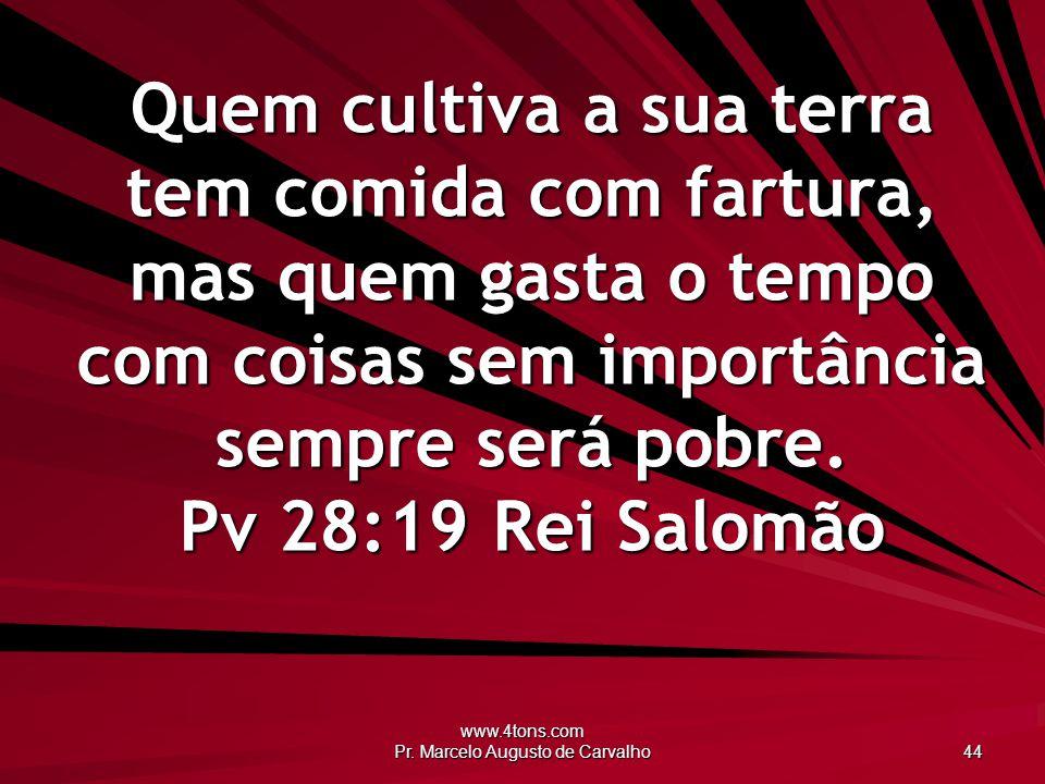 www.4tons.com Pr. Marcelo Augusto de Carvalho 44 Quem cultiva a sua terra tem comida com fartura, mas quem gasta o tempo com coisas sem importância se