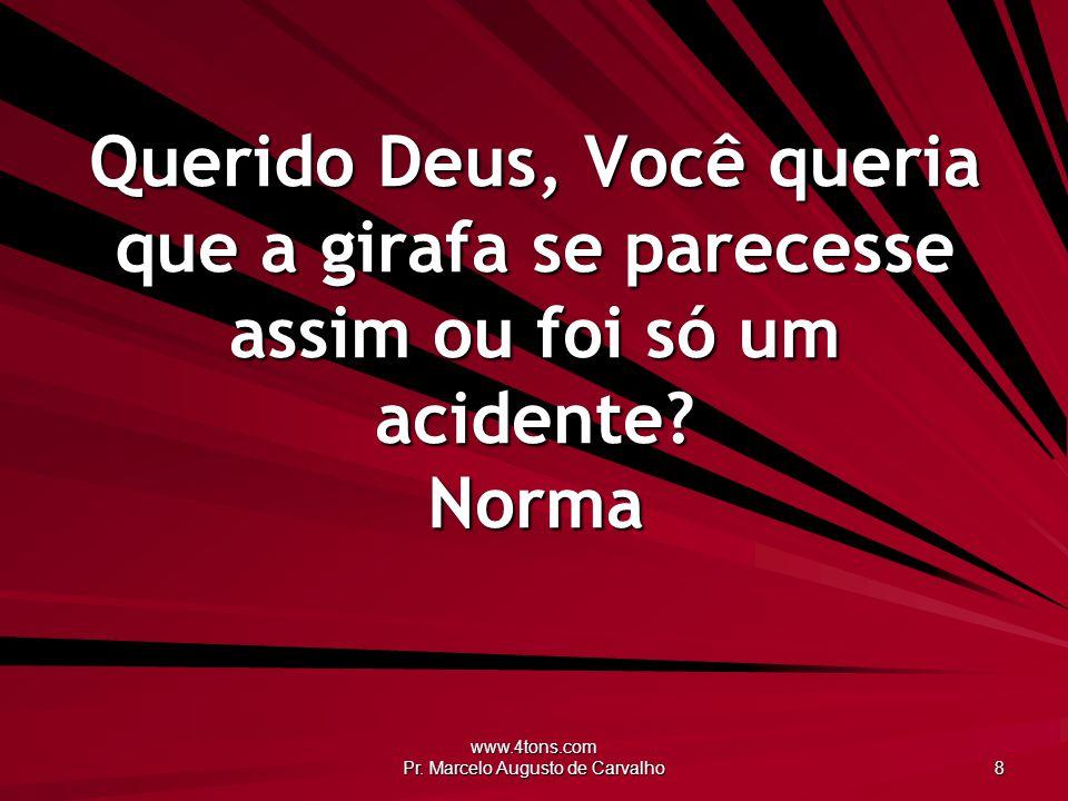 www.4tons.com Pr. Marcelo Augusto de Carvalho 8 Querido Deus, Você queria que a girafa se parecesse assim ou foi só um acidente? Norma