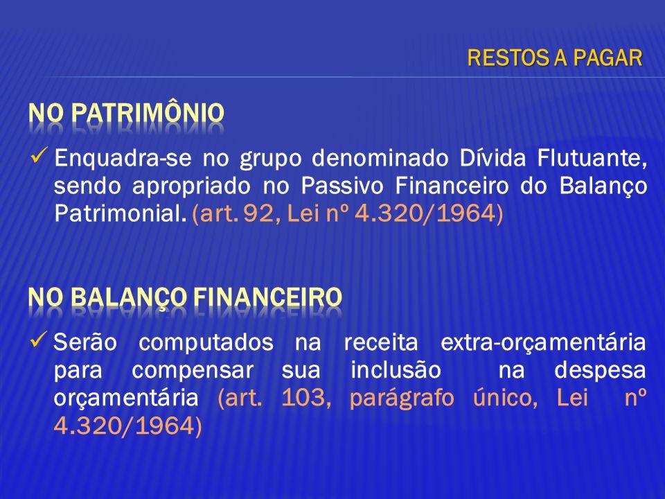 Enquadra-se no grupo denominado Dívida Flutuante, sendo apropriado no Passivo Financeiro do Balanço Patrimonial. (art. 92, Lei nº 4.320/1964) RESTOS A