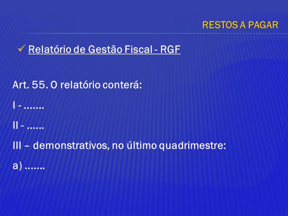 Art. 55. O relatório conterá: I -....... II -...... III – demonstrativos, no último quadrimestre: a)....... RESTOS A PAGAR Relatório de Gestão Fiscal