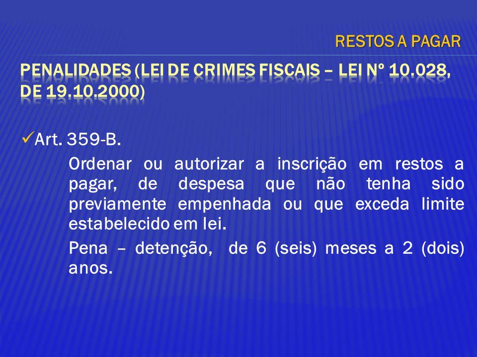 Art. 359-B. Ordenar ou autorizar a inscrição em restos a pagar, de despesa que não tenha sido previamente empenhada ou que exceda limite estabelecido