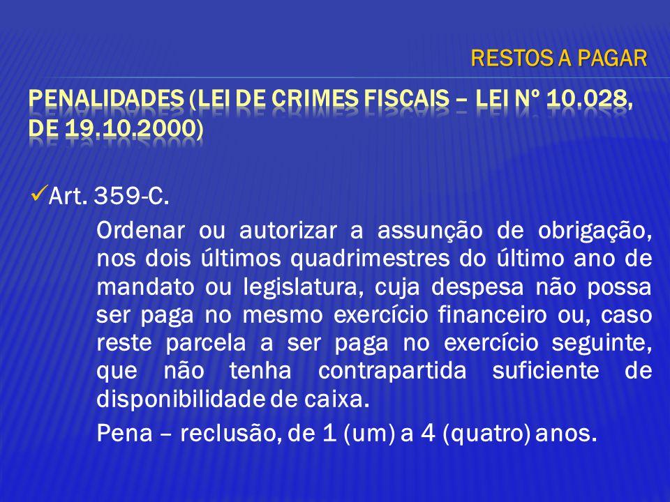 Art. 359-C. Ordenar ou autorizar a assunção de obrigação, nos dois últimos quadrimestres do último ano de mandato ou legislatura, cuja despesa não pos