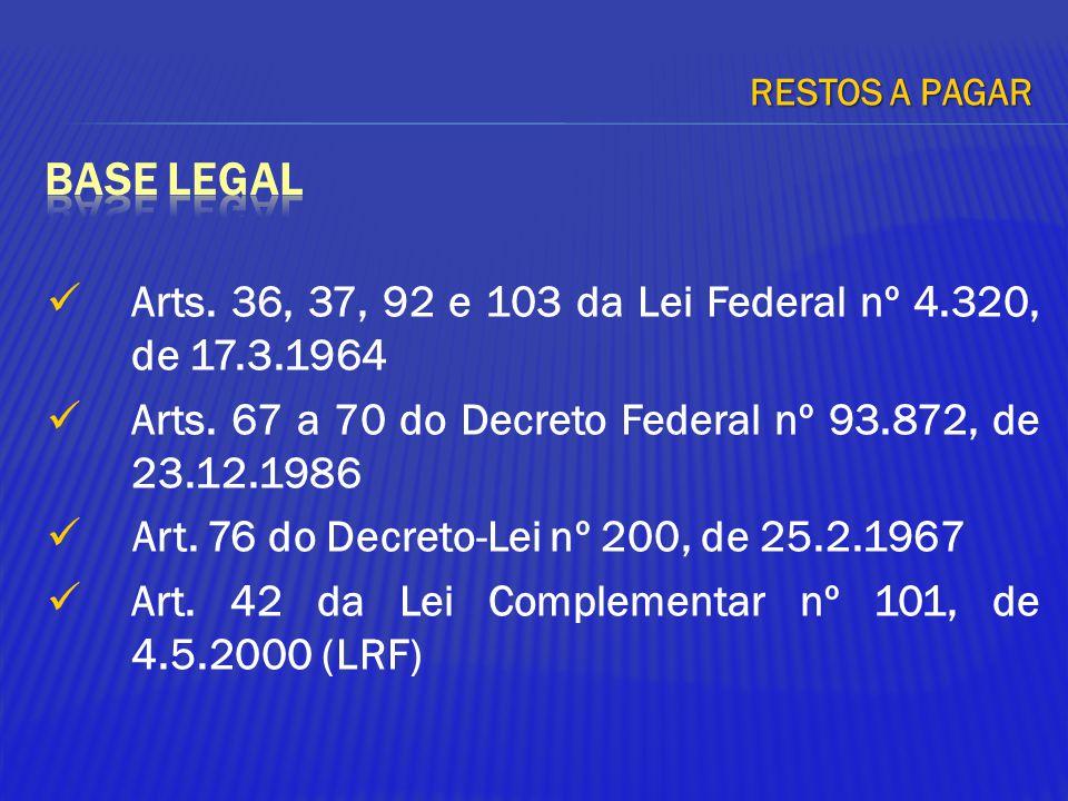 Arts. 36, 37, 92 e 103 da Lei Federal nº 4.320, de 17.3.1964 Arts. 67 a 70 do Decreto Federal nº 93.872, de 23.12.1986 Art. 76 do Decreto-Lei nº 200,