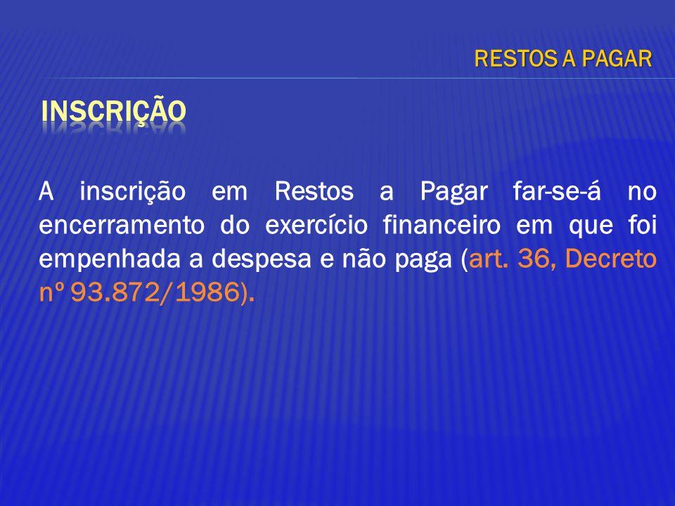 A inscrição em Restos a Pagar far-se-á no encerramento do exercício financeiro em que foi empenhada a despesa e não paga (art. 36, Decreto nº 93.872/1