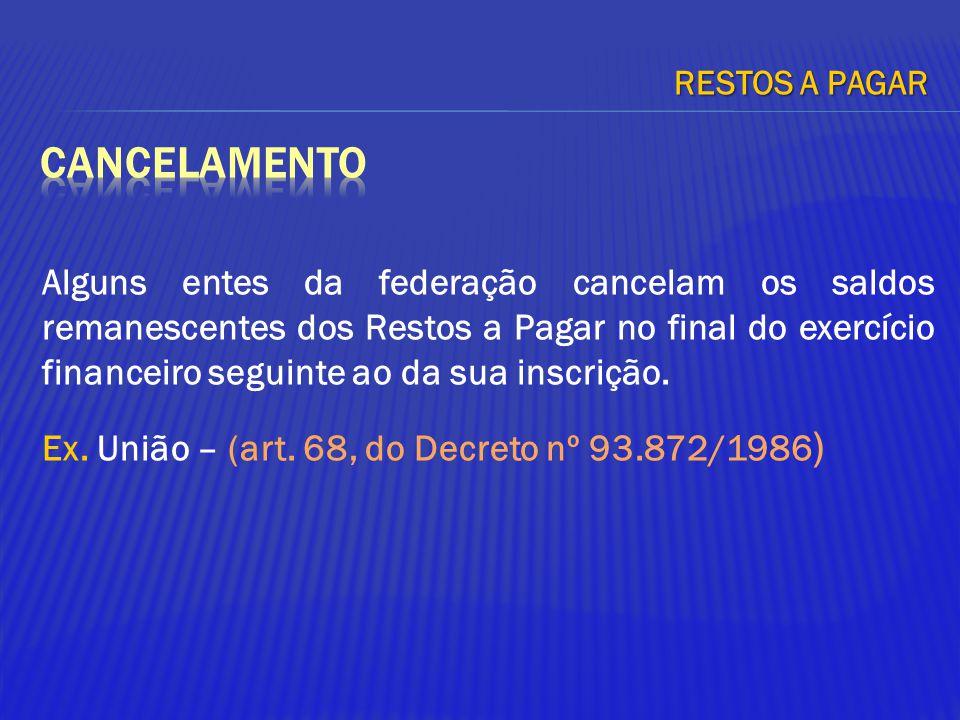Alguns entes da federação cancelam os saldos remanescentes dos Restos a Pagar no final do exercício financeiro seguinte ao da sua inscrição. Ex. União