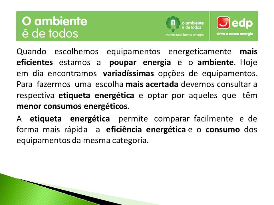 A etiqueta energética dá-nos a conhecer a eficiência energética dos equipamentos, os consumos de energia, os rendimentos, a capacidade, o ruído, entre outras.