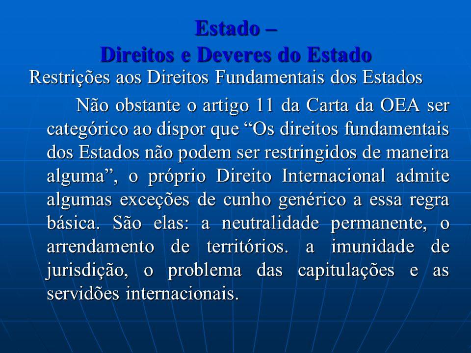 Estado – Direitos e Deveres do Estado Restrições aos Direitos Fundamentais dos Estados Não obstante o artigo 11 da Carta da OEA ser categórico ao disp