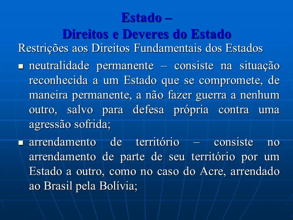 Estado – Direitos e Deveres do Estado Restrições aos Direitos Fundamentais dos Estados neutralidade permanente – consiste na situação reconhecida a um
