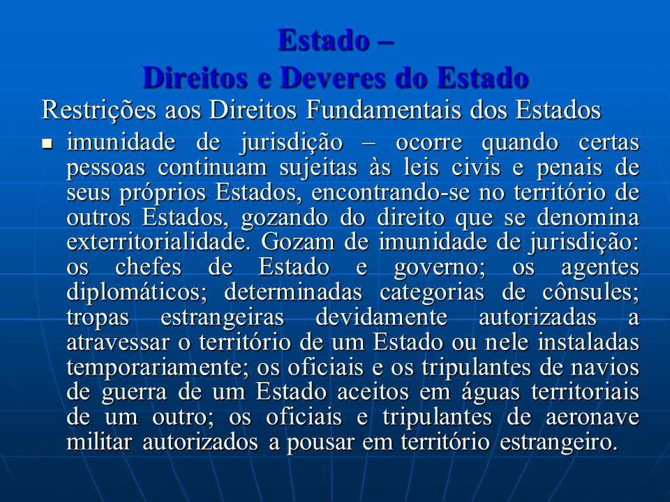 Estado – Direitos e Deveres do Estado Restrições aos Direitos Fundamentais dos Estados imunidade de jurisdição – ocorre quando certas pessoas continua