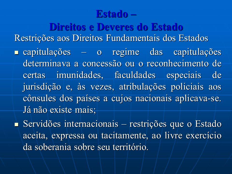 Estado – Direitos e Deveres do Estado Restrições aos Direitos Fundamentais dos Estados capitulações – o regime das capitulações determinava a concessã