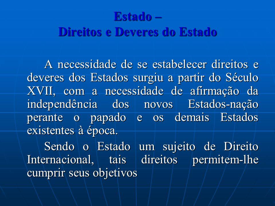 Estado – Direitos e Deveres do Estado A necessidade de se estabelecer direitos e deveres dos Estados surgiu a partir do Século XVII, com a necessidade