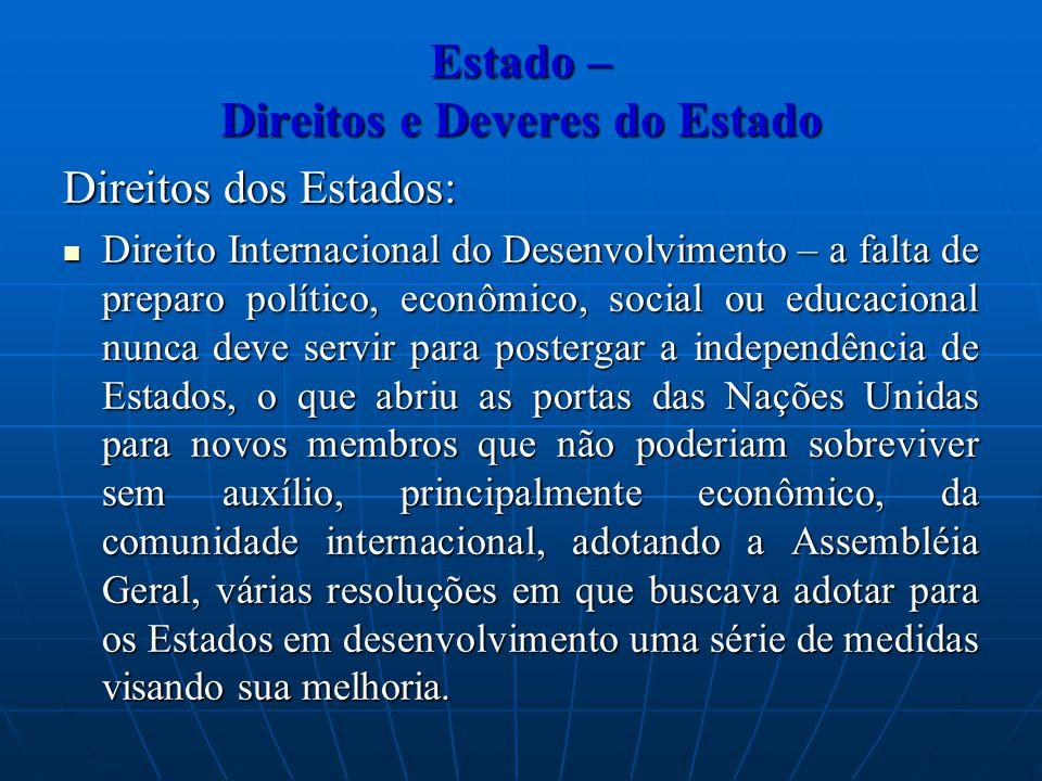 Estado – Direitos e Deveres do Estado Direitos dos Estados: Direito Internacional do Desenvolvimento – a falta de preparo político, econômico, social