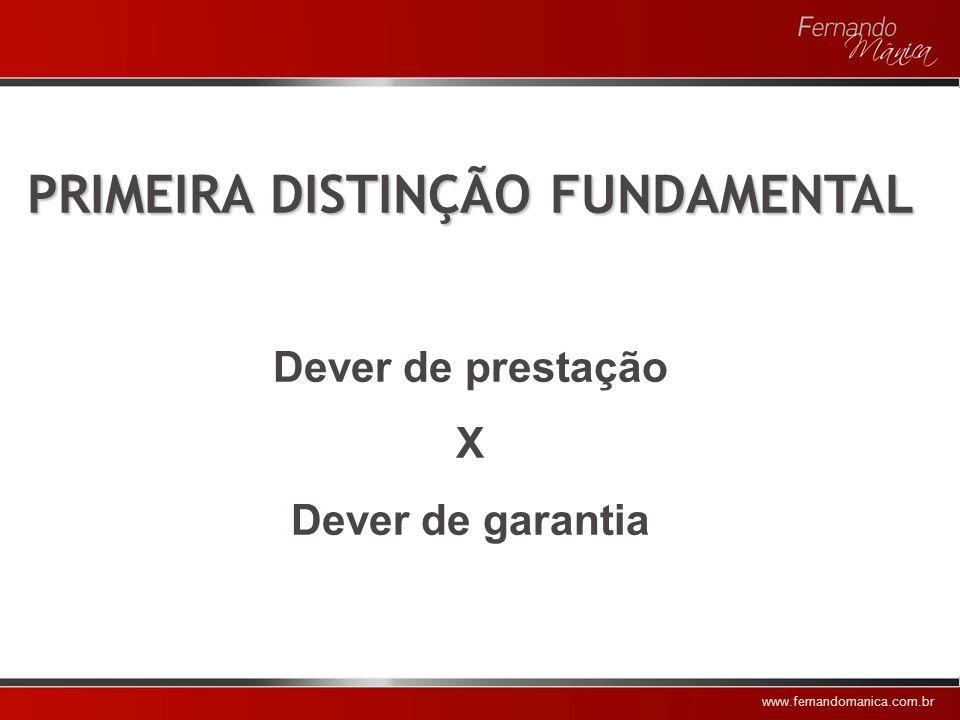 www.fernandomanica.com.br DISTINÇÕES FUNDAMENTAIS Dever de prestação X Dever de garantia