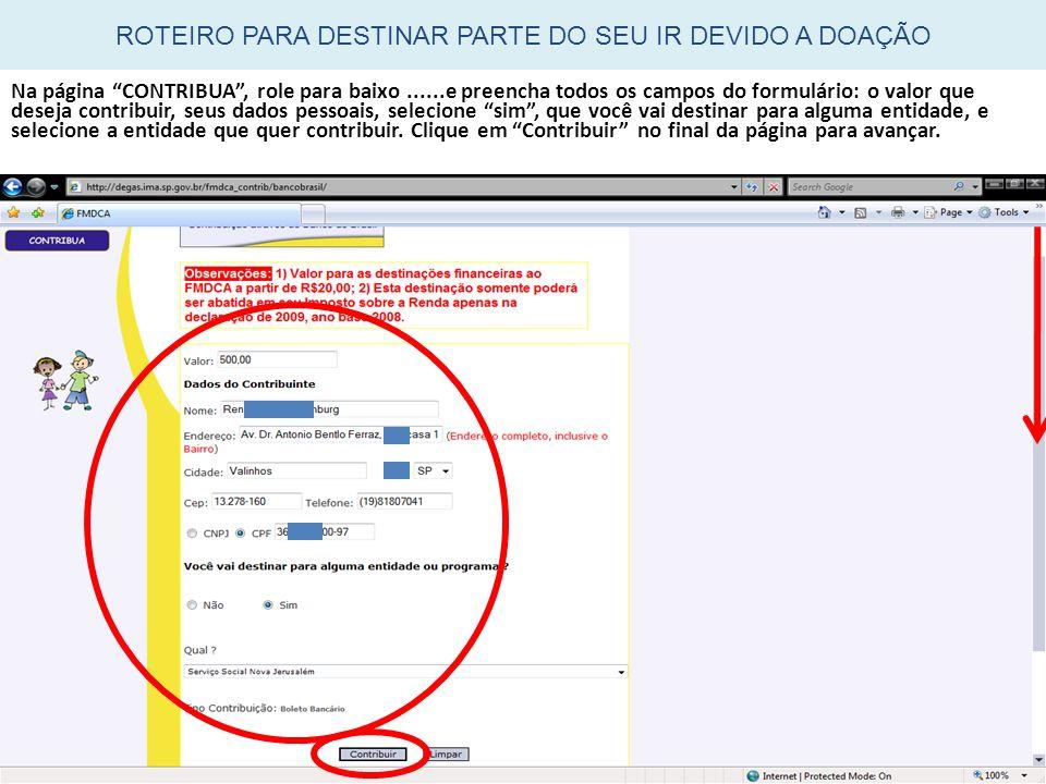 """Na página """"CONTRIBUA"""", role para baixo......e preencha todos os campos do formulário: o valor que deseja contribuir, seus dados pessoais, selecione """"s"""