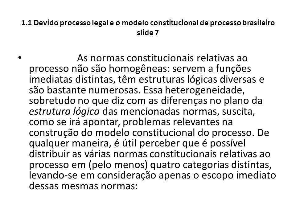 1.1 Devido processo legal e o modelo constitucional de processo brasileiro slide 7 As normas constitucionais relativas ao processo não são homogêneas: