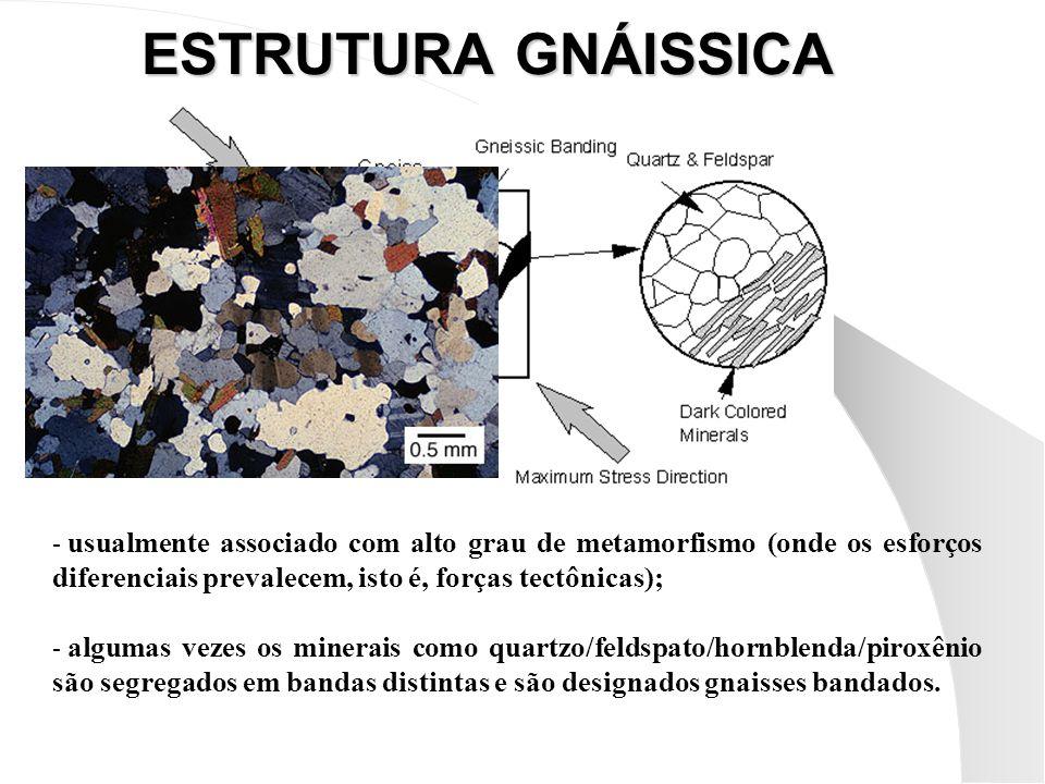 ESTRUTURA GNÁISSICA - usualmente associado com alto grau de metamorfismo (onde os esforços diferenciais prevalecem, isto é, forças tectônicas); - algumas vezes os minerais como quartzo/feldspato/hornblenda/piroxênio são segregados em bandas distintas e são designados gnaisses bandados.